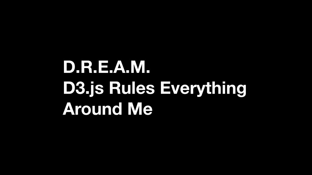 D.R.E.A.M. D3.js Rules Everything Around Me