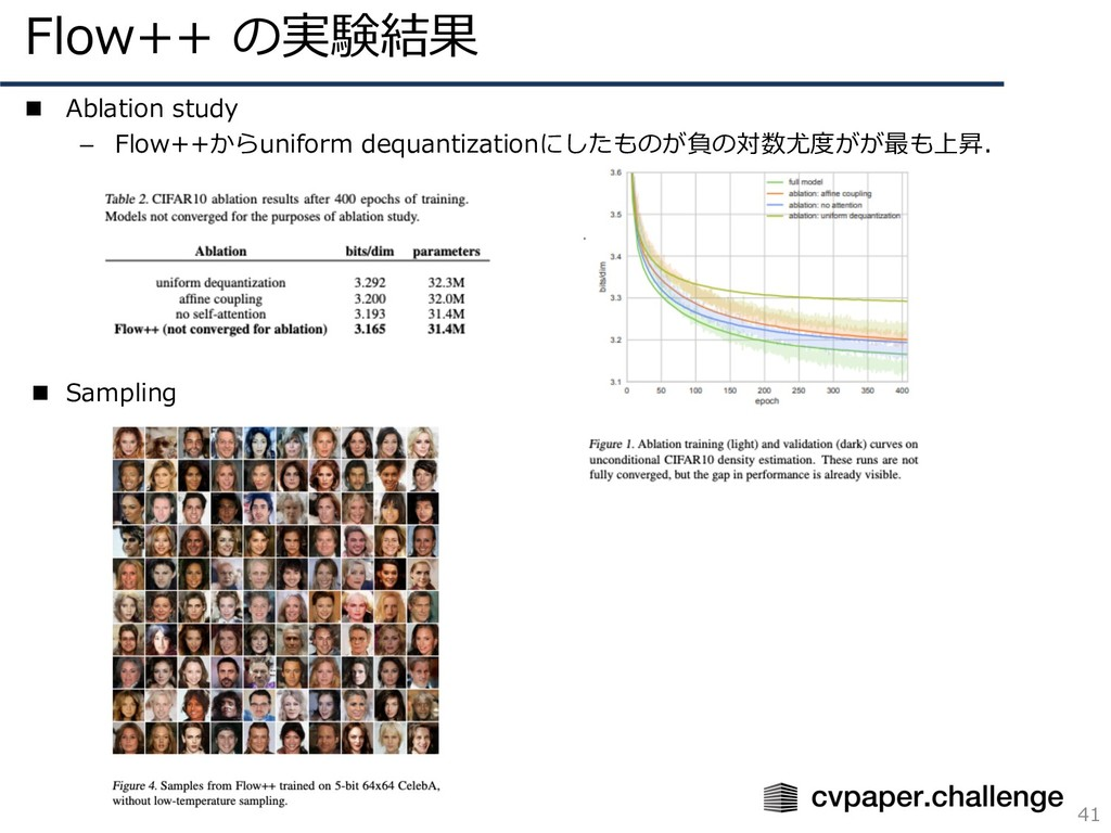 Flow++ の実験結果 41 n Ablation study – Flow++からunif...