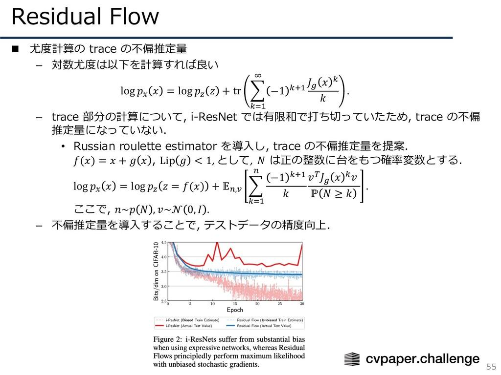 Residual Flow 55 n 尤度計算の trace の不偏推定量 – 対数尤度は以下...