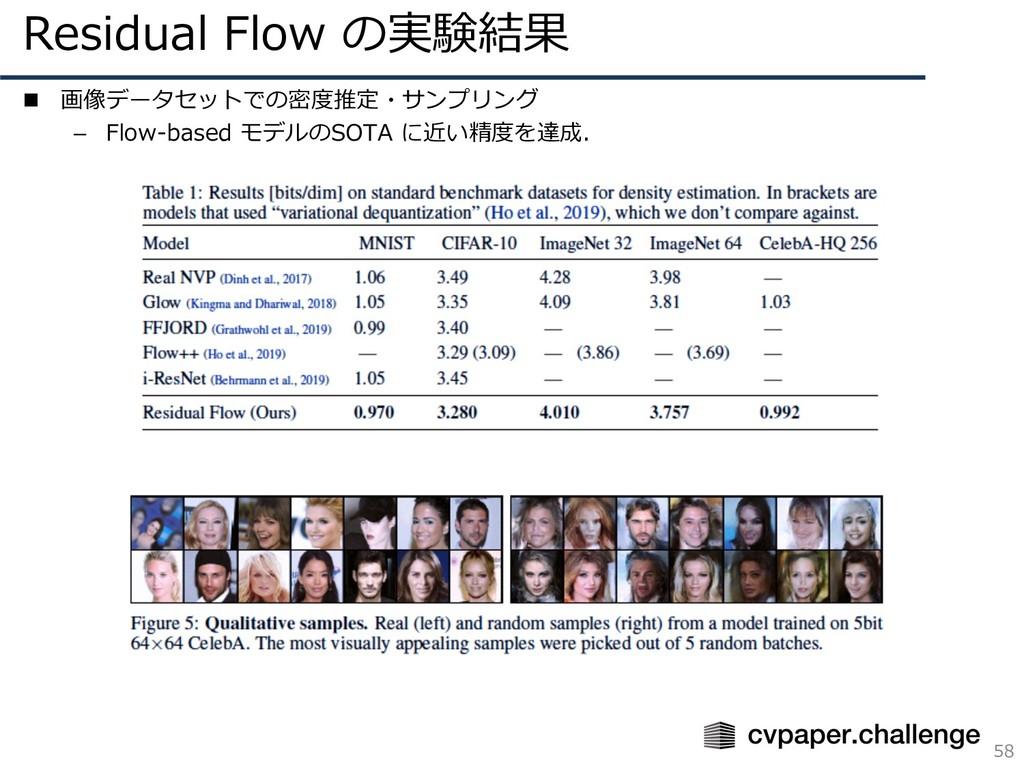 Residual Flow の実験結果 58 n 画像データセットでの密度推定・サンプリング ...