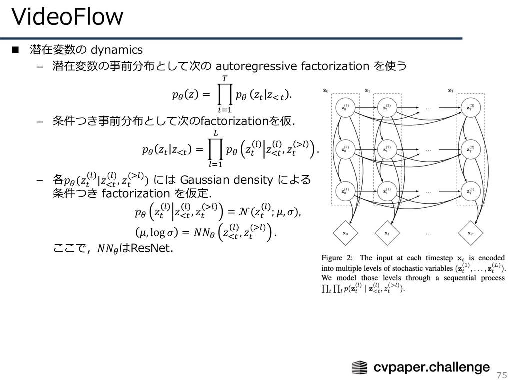 VideoFlow 75 n 潜在変数の dynamics – 潜在変数の事前分布として次の ...