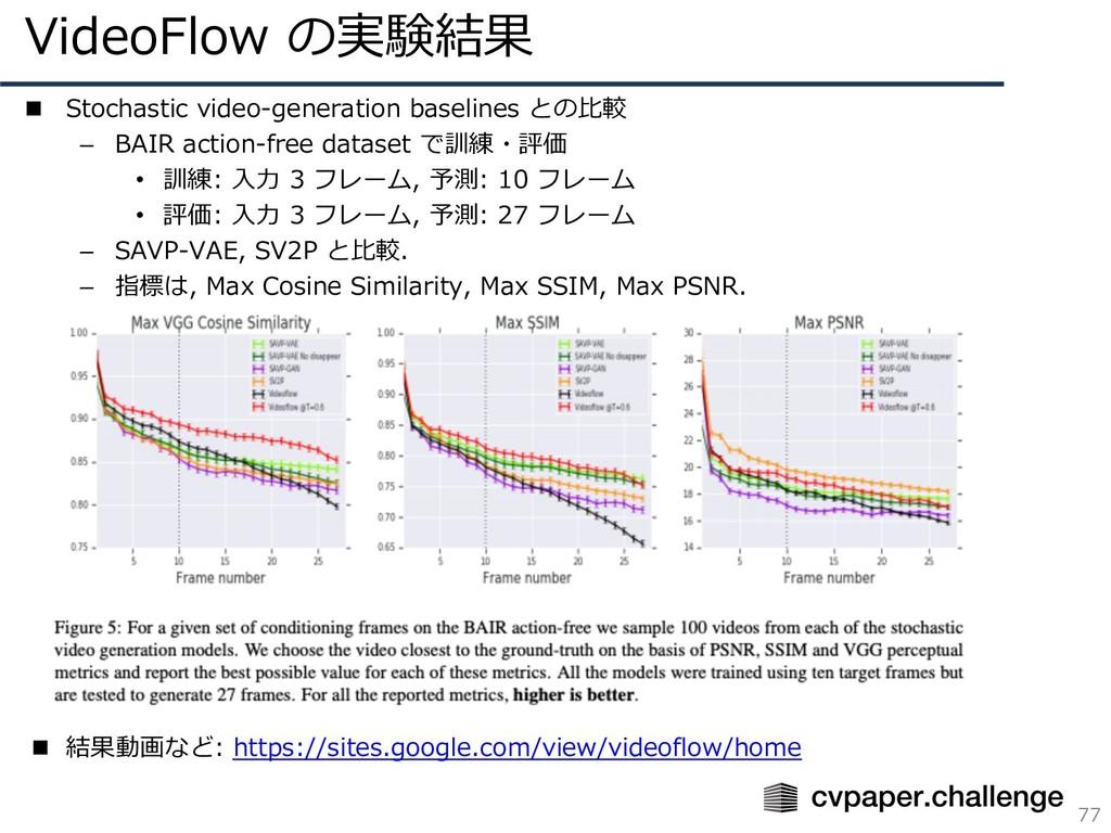 VideoFlow の実験結果 77 n Stochastic video-generatio...