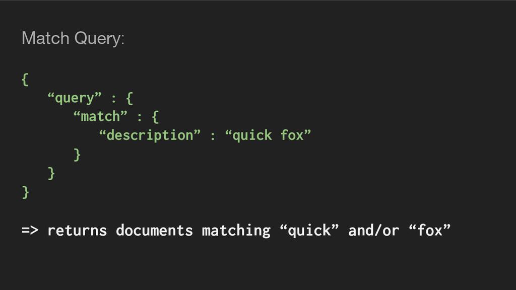 "Match Query: { ""query"" : { ""match"" : { ""descrip..."