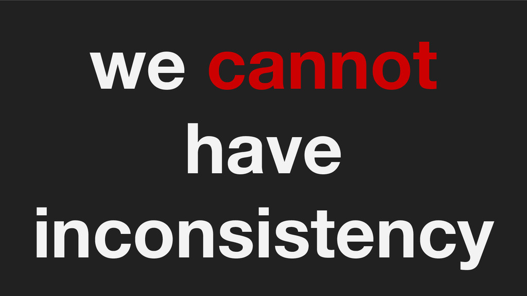 we cannot have inconsistency