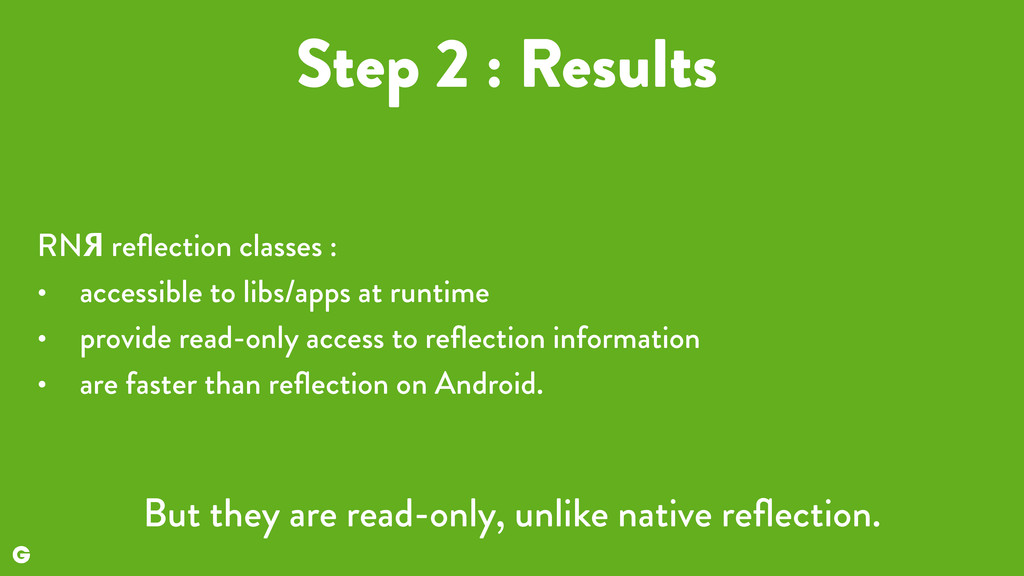Step 2 : Results RNЯ reflection classes : • acce...