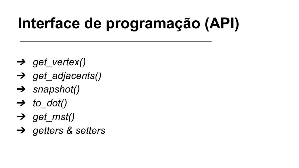 Interface de programação (API) ➔ get_vertex() ➔...