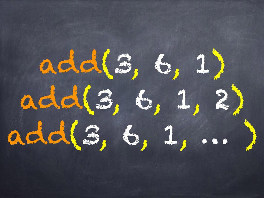 add(3, 6, 1) add(3, 6, 1, 2) add(3, 6, 1, … )