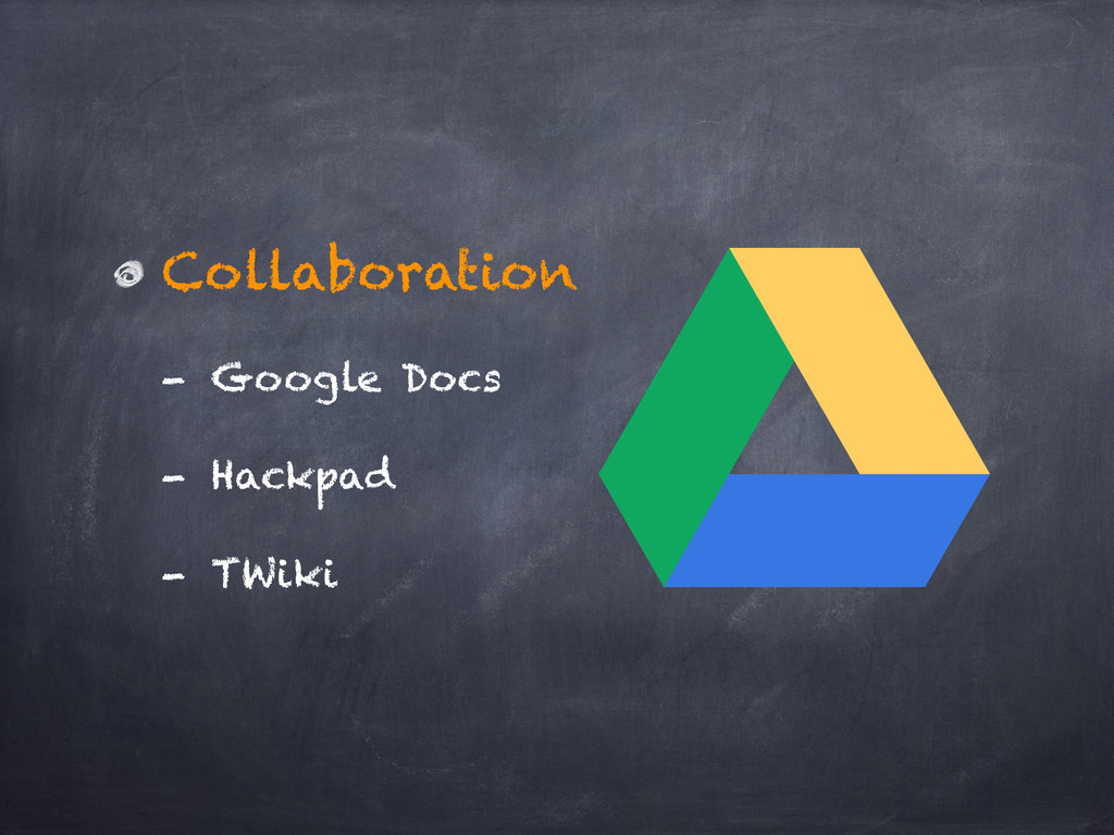 Collaboration - Google Docs - Hackpad - TWiki