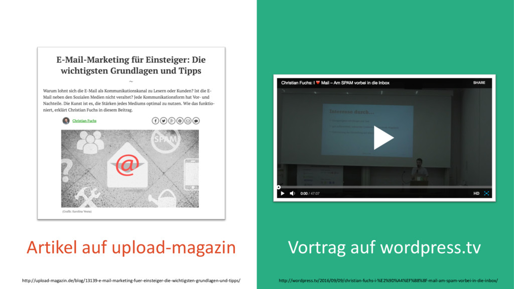 Vortrag auf wordpress.tv Artikel auf upload-mag...