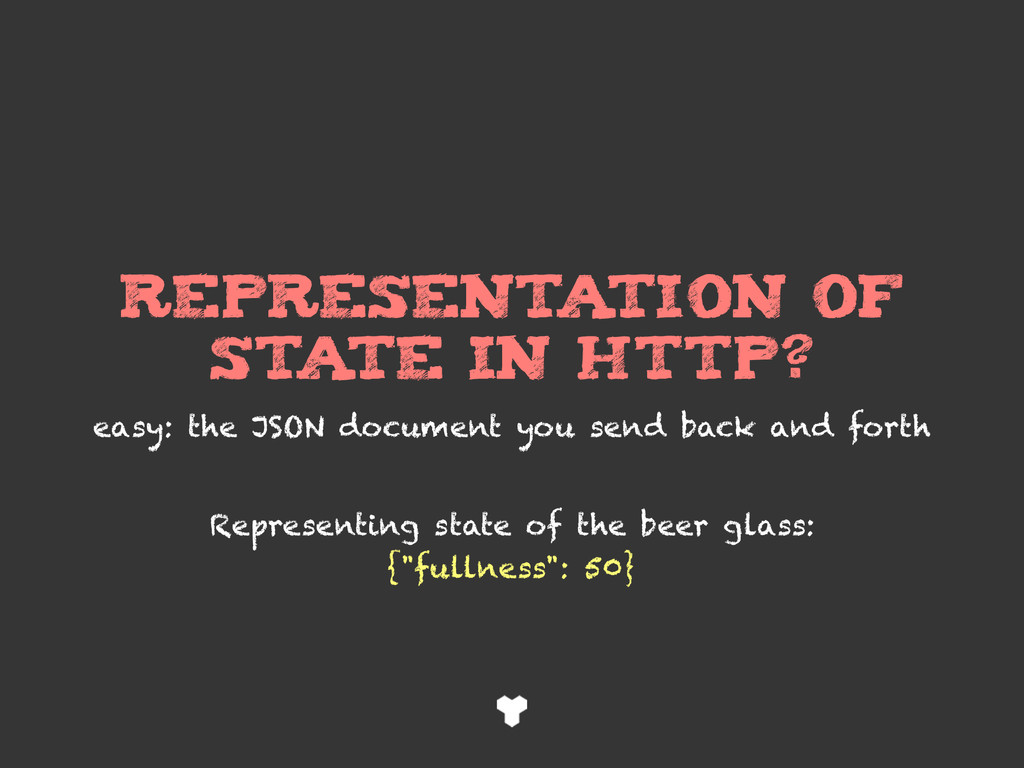 REPRESENTATION of STATE in HTTP? easy: the JSON...