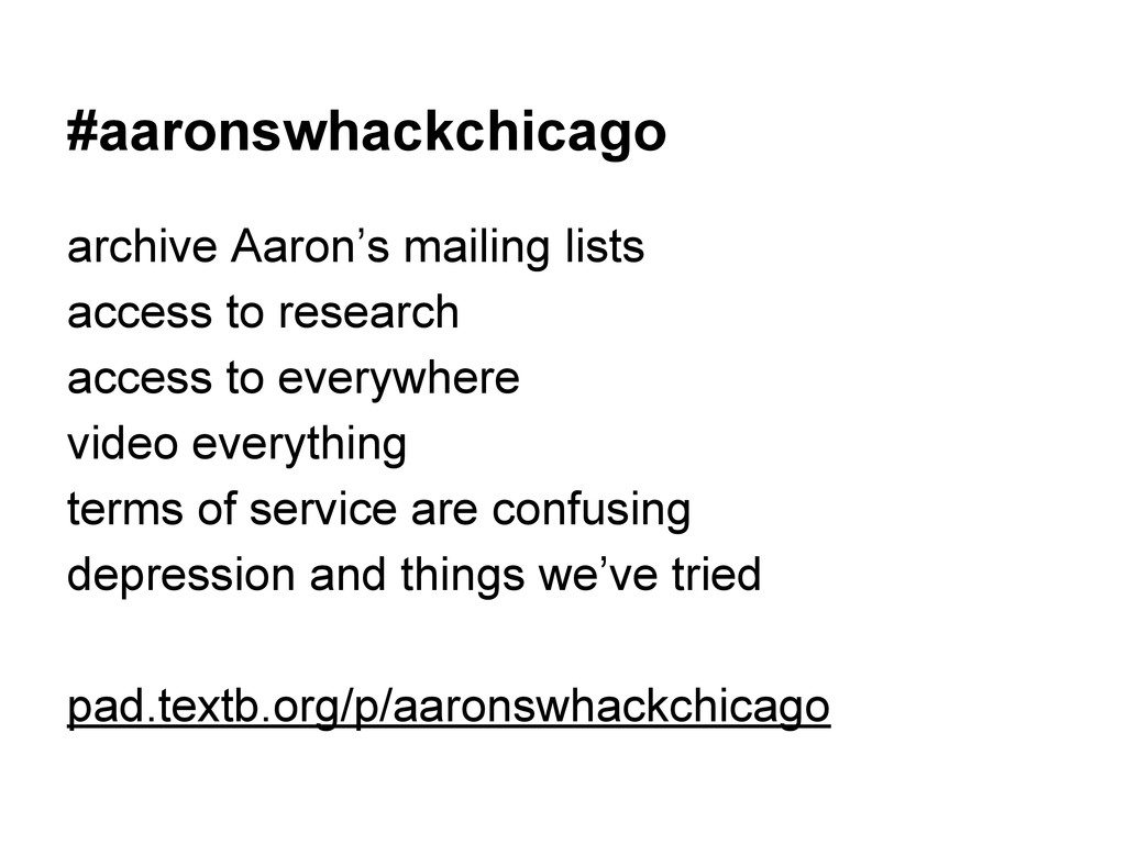 #aaronswhackchicago archive Aaron's mailing lis...