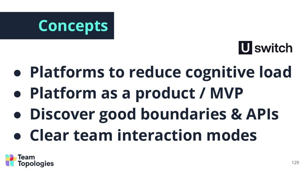 Concepts ● Platforms to reduce cognitive load ●...