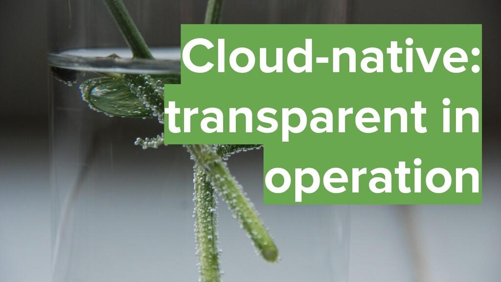 40 Cloud-native: transparent in operation