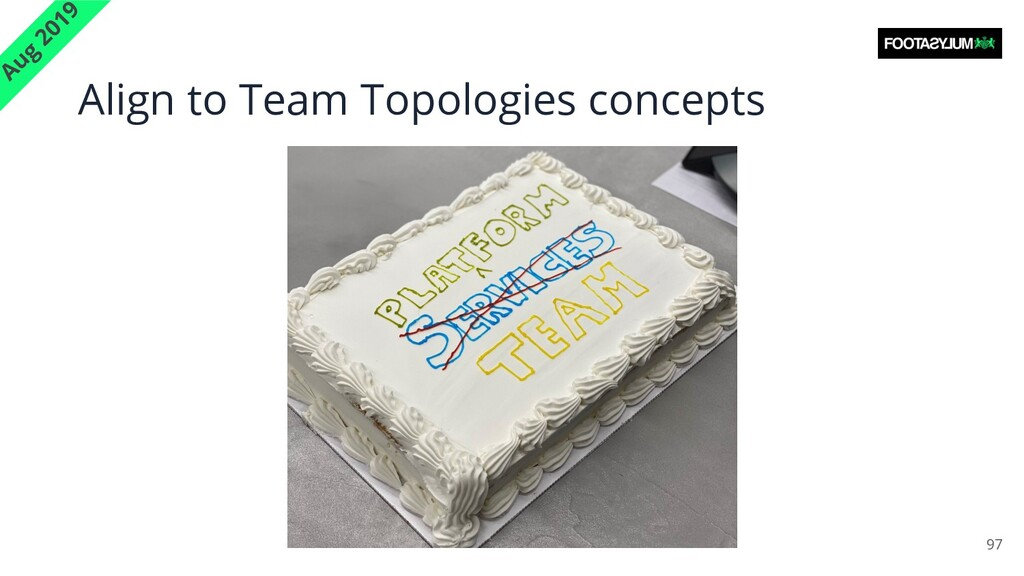 Align to Team Topologies concepts 97 Aug 2019
