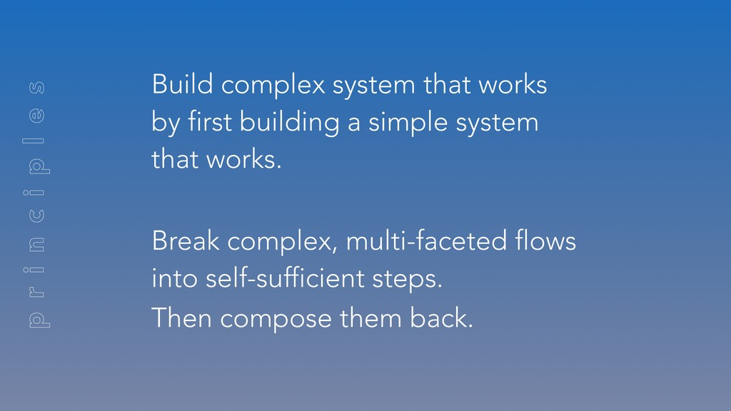 Build complex system that works by first buildi...