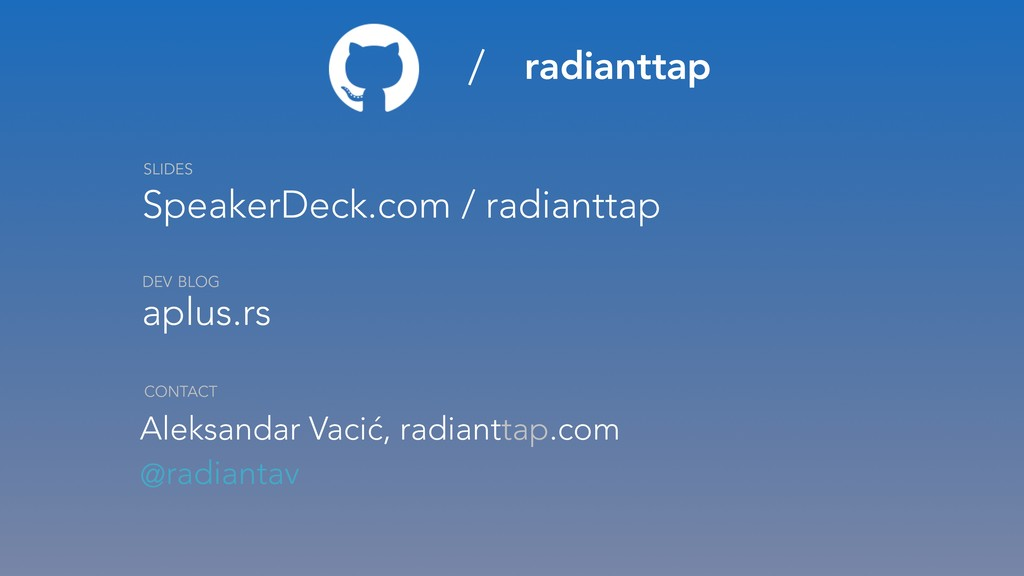 / radianttap SpeakerDeck.com / radianttap aplus...