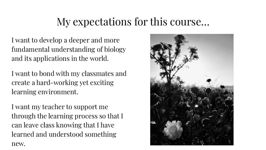 My expectations for this course… I want to deve...