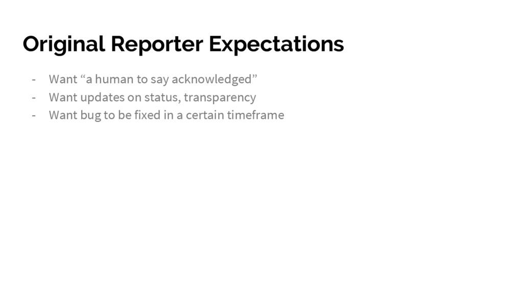 "Original Reporter Expectations - Want ""a human ..."