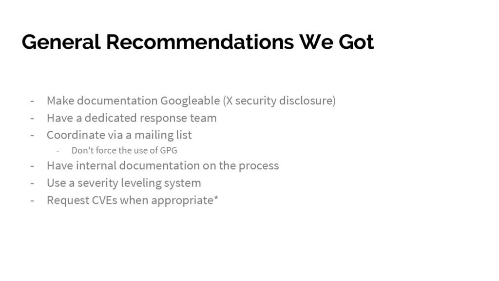 General Recommendations We Got - Make documenta...