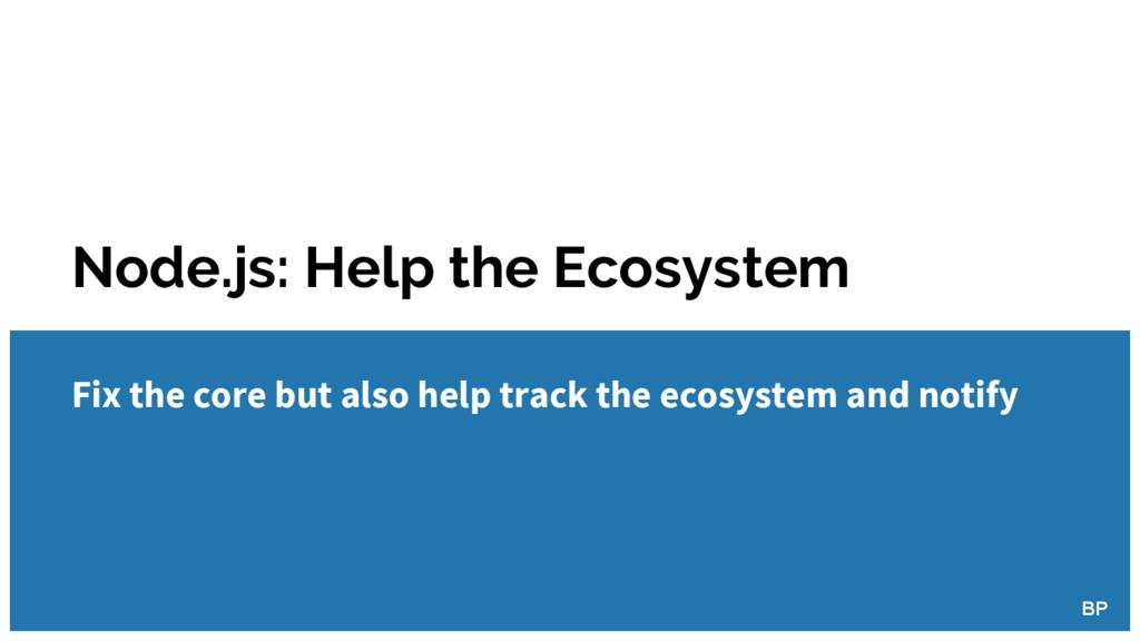 Node.js: Help the Ecosystem BP Fix the core but...