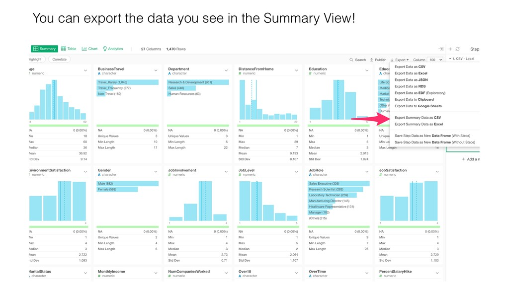 You can export the data you see in the Summary ...
