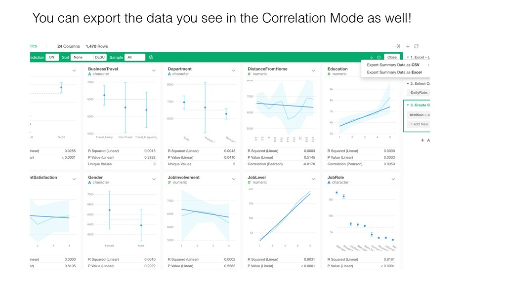 You can export the data you see in the Correlat...
