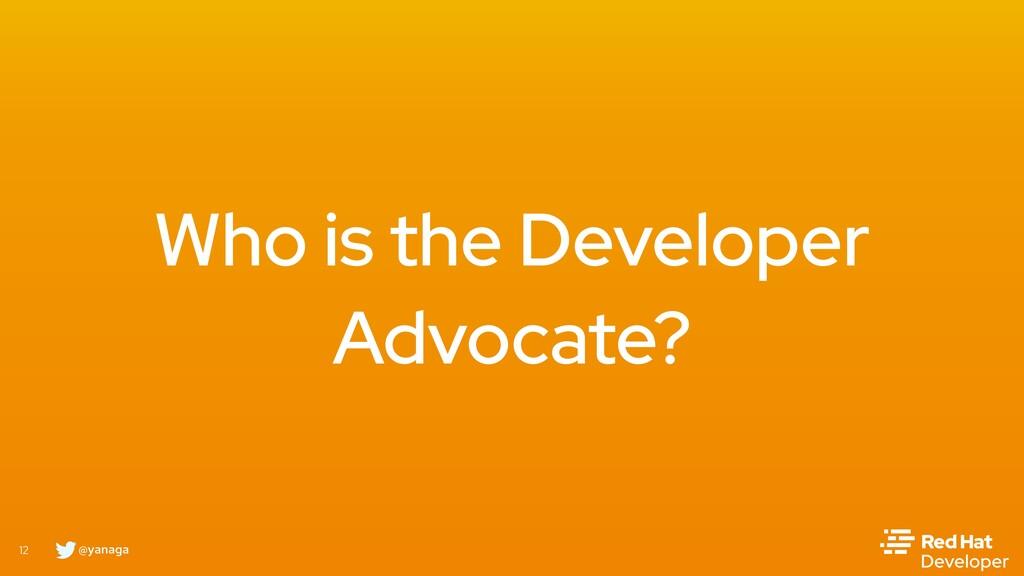 @yanaga 12 Who is the Developer Advocate?