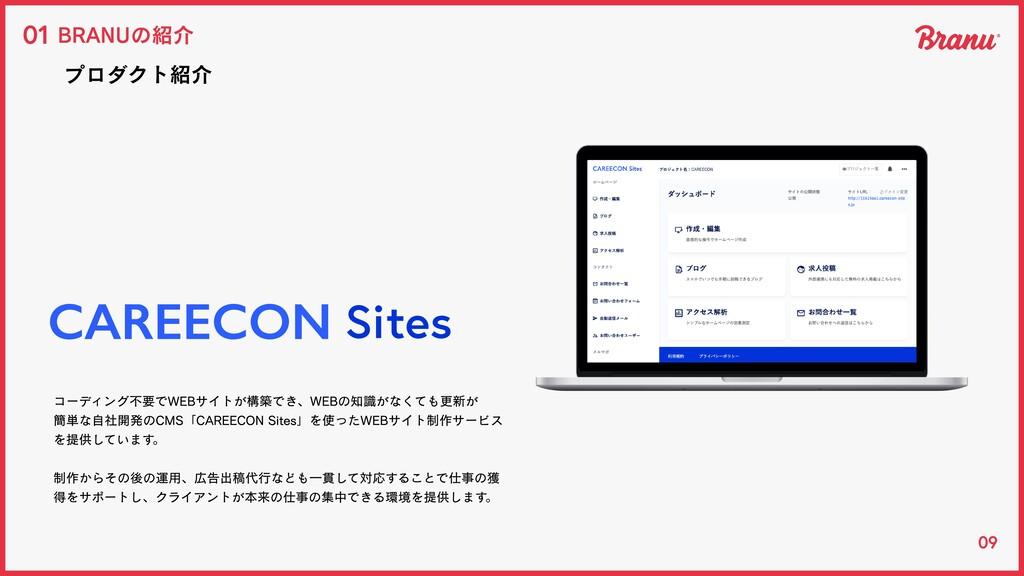 09 BRANUの紹介 01 プロダクト紹介 コーディング不要でWEBサイトが構築でき、WEB...