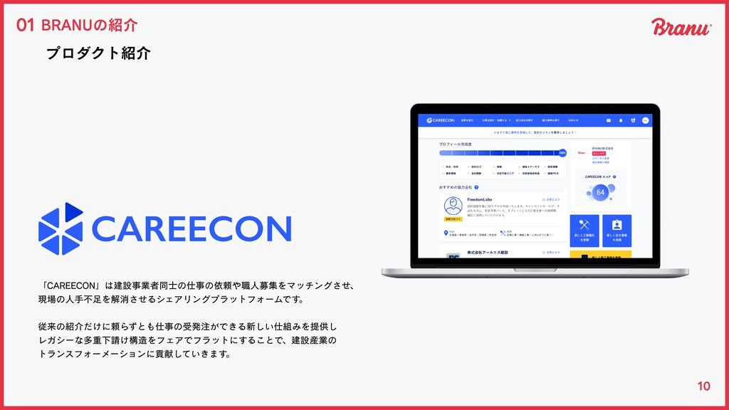 10 BRANUの紹介 01 プロダクト紹介 「CAREECON」は建設事業者同⼠の仕事の依頼...