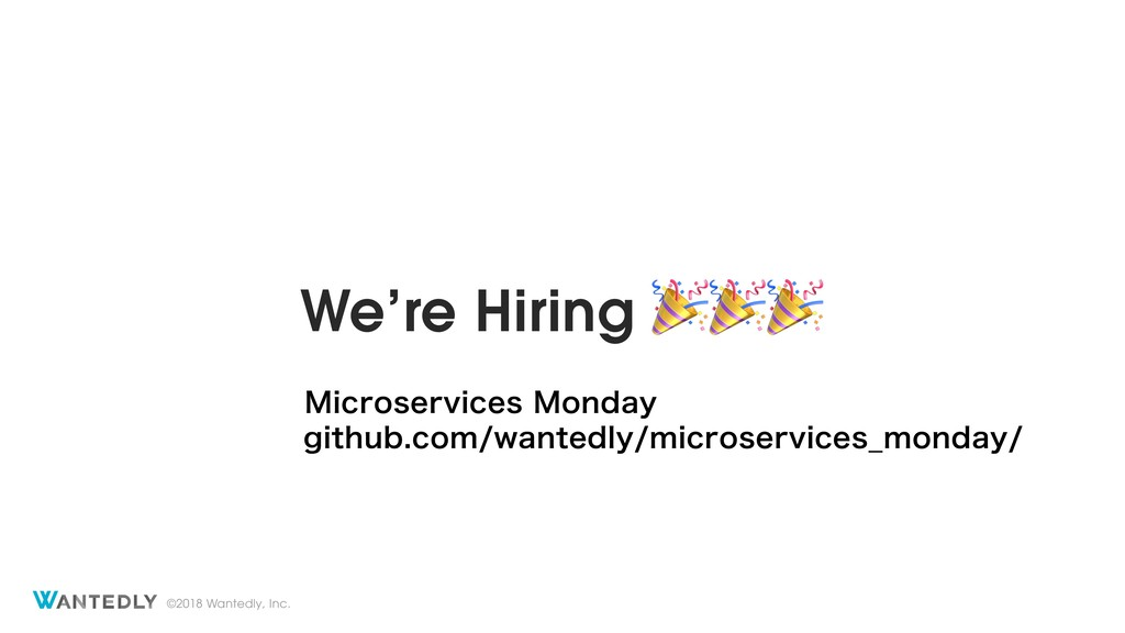 ©2018 Wantedly, Inc. We're Hiring  .JDSPTFSWJDF...