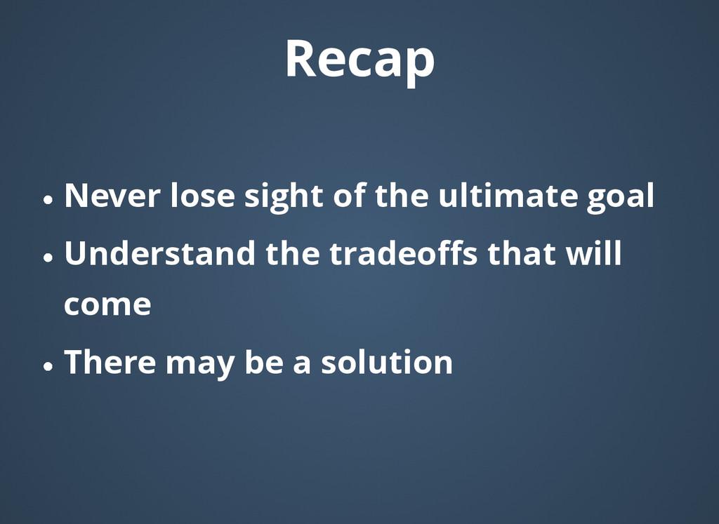 Recap Recap Never lose sight of the ultimate go...