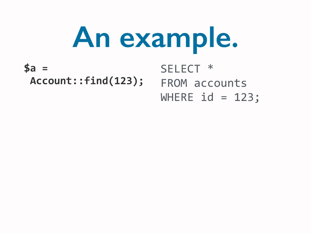 An example. SELECT	
