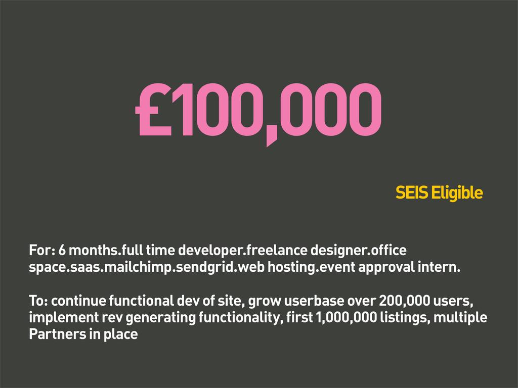 £100,000 For: 6 months.full time developer.free...