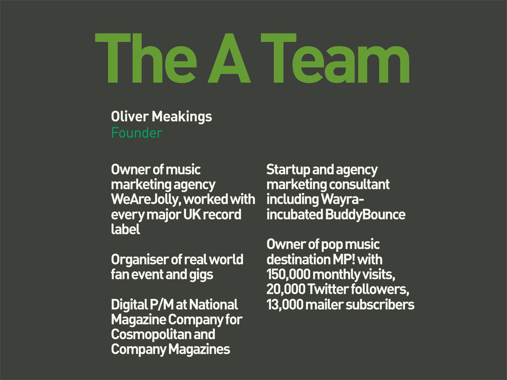 The A Team Oliver Meakings Founder Owner of mus...