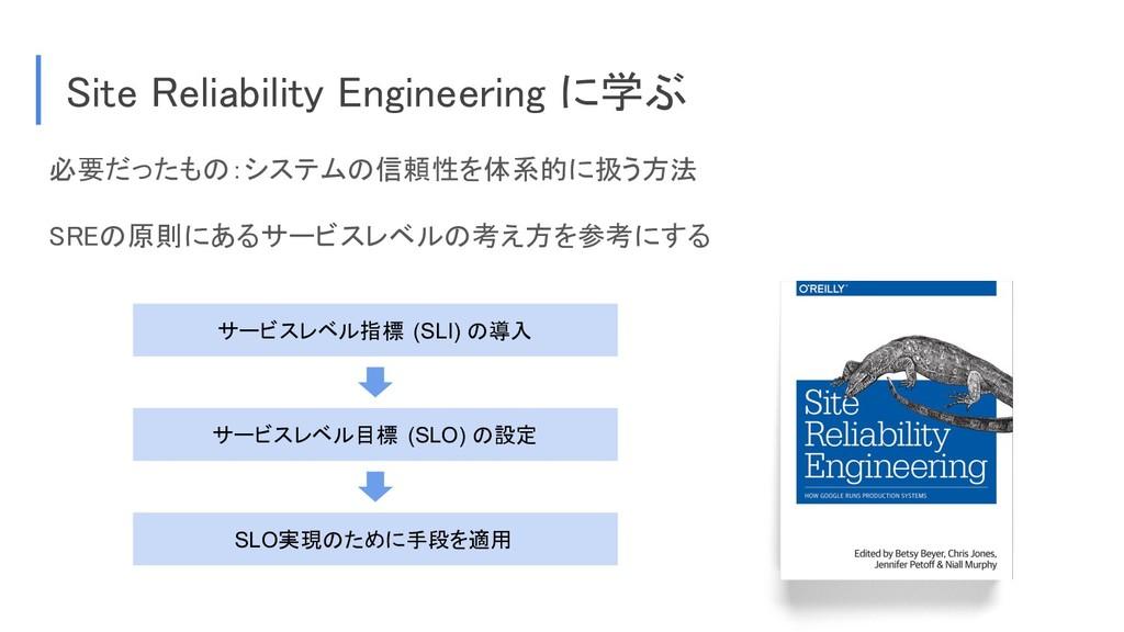 必要だったもの:システムの信頼性を体系的に扱う方法 SREの原則にあるサービスレベルの考え方を...
