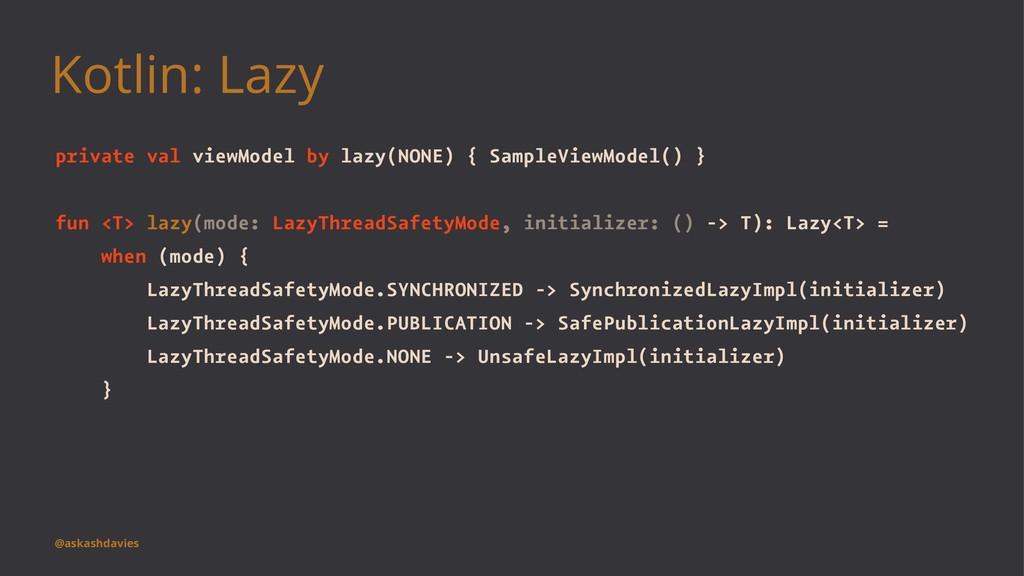Kotlin: Lazy private val viewModel by lazy(NONE...