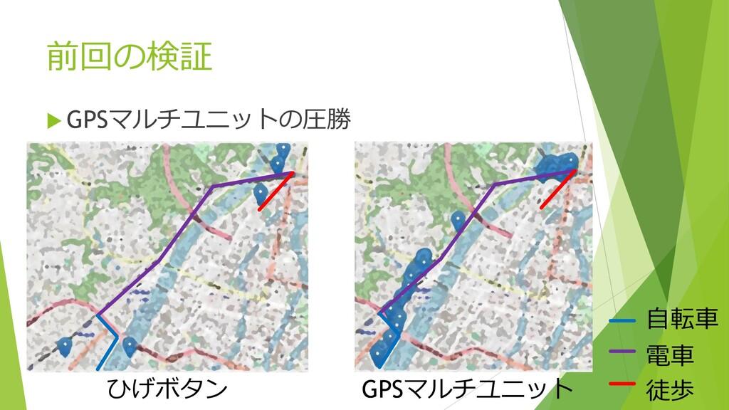 前回の検証  GPSマルチユニットの圧勝 徒歩 電車 自転車 ひげボタン GPSマルチユニット
