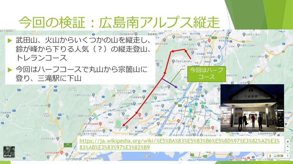 今回の検証:広島南アルプス縦走  武田山、火山からいくつかの山を縦走し、 鈴が峰から下りる人...