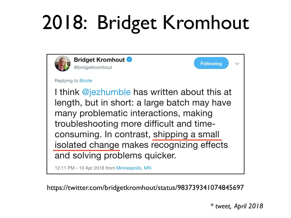* tweet, April 2018 https://twitter.com/bridget...