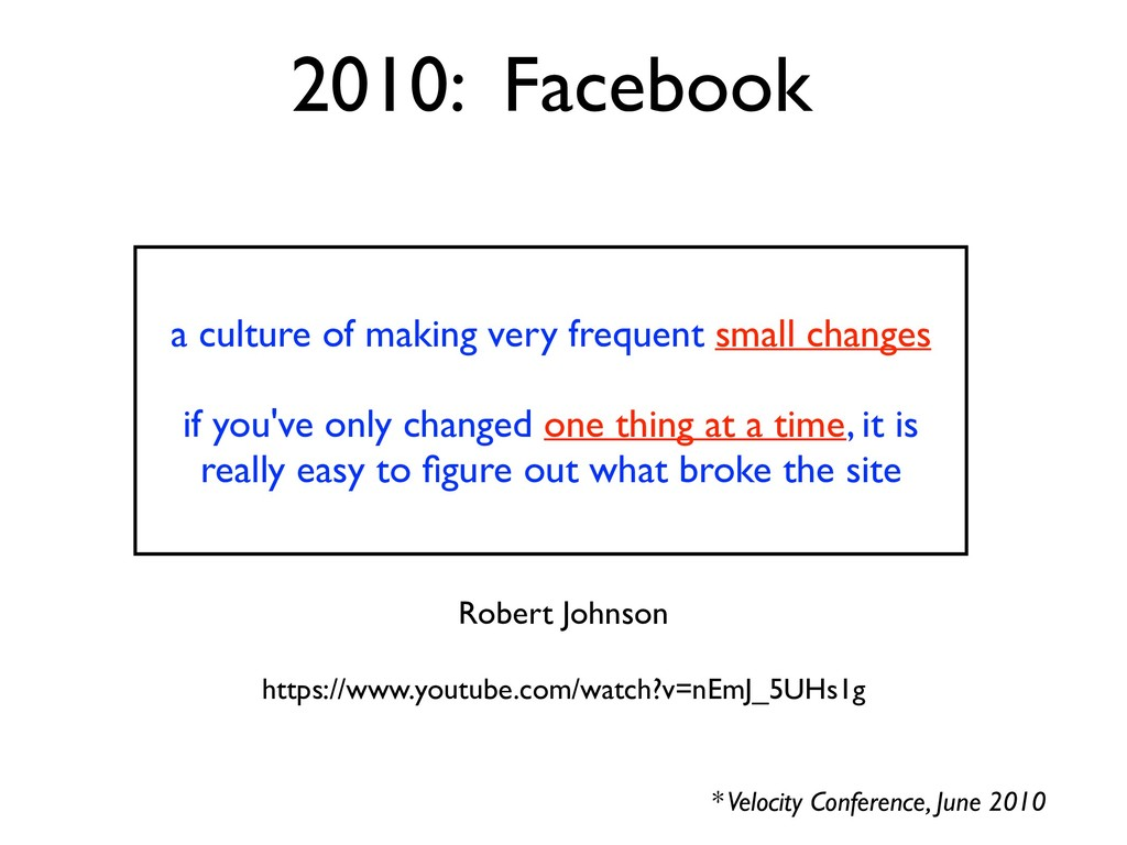 2010: Facebook * Velocity Conference, June 2010...