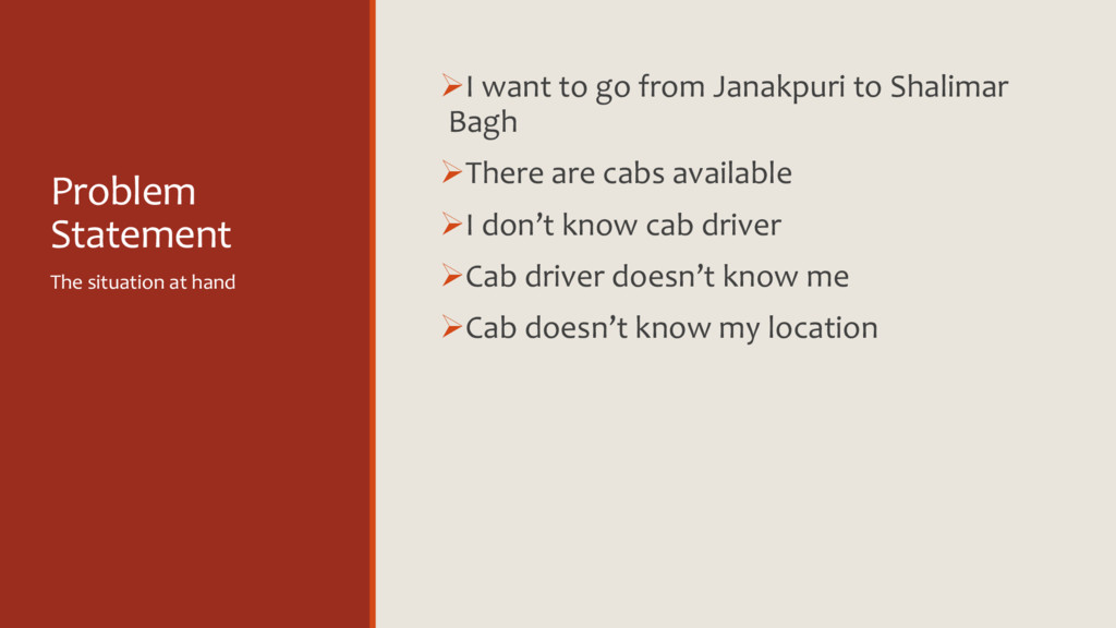 Problem Statement ØI want to go from Janakpuri ...
