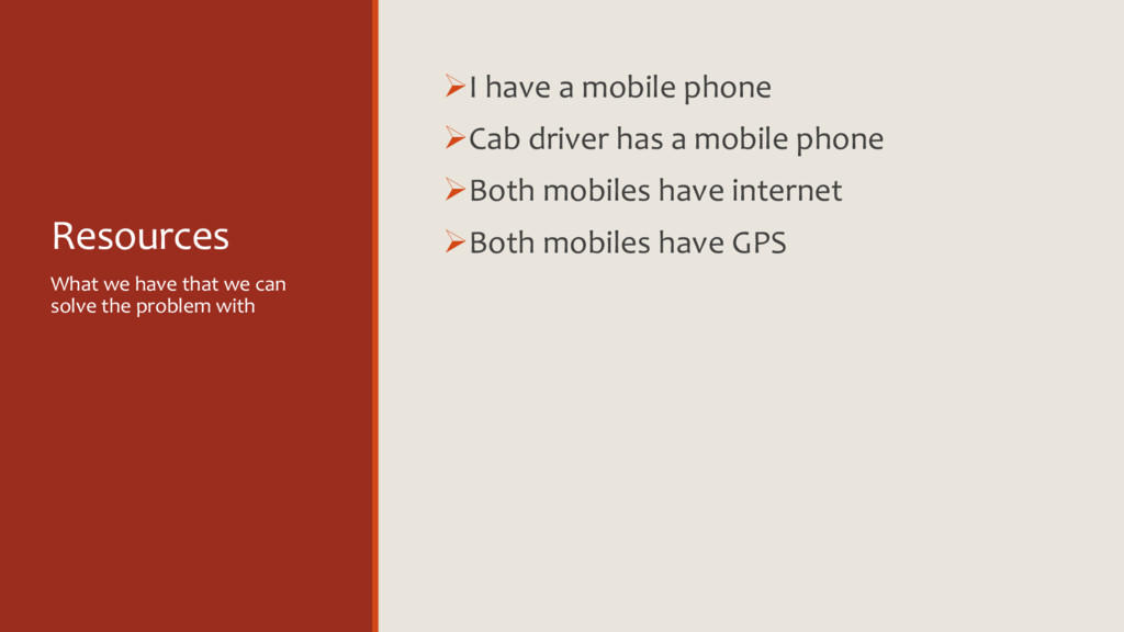 Resources ØI have a mobile phone ØCab driver ha...