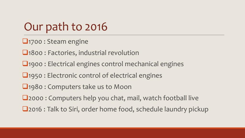 Our path to 2016 q1700 : Steam engine q1800 : F...