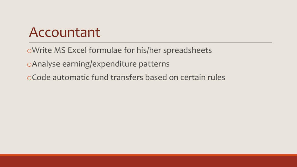Accountant oWrite MS Excel formulae for his/her...