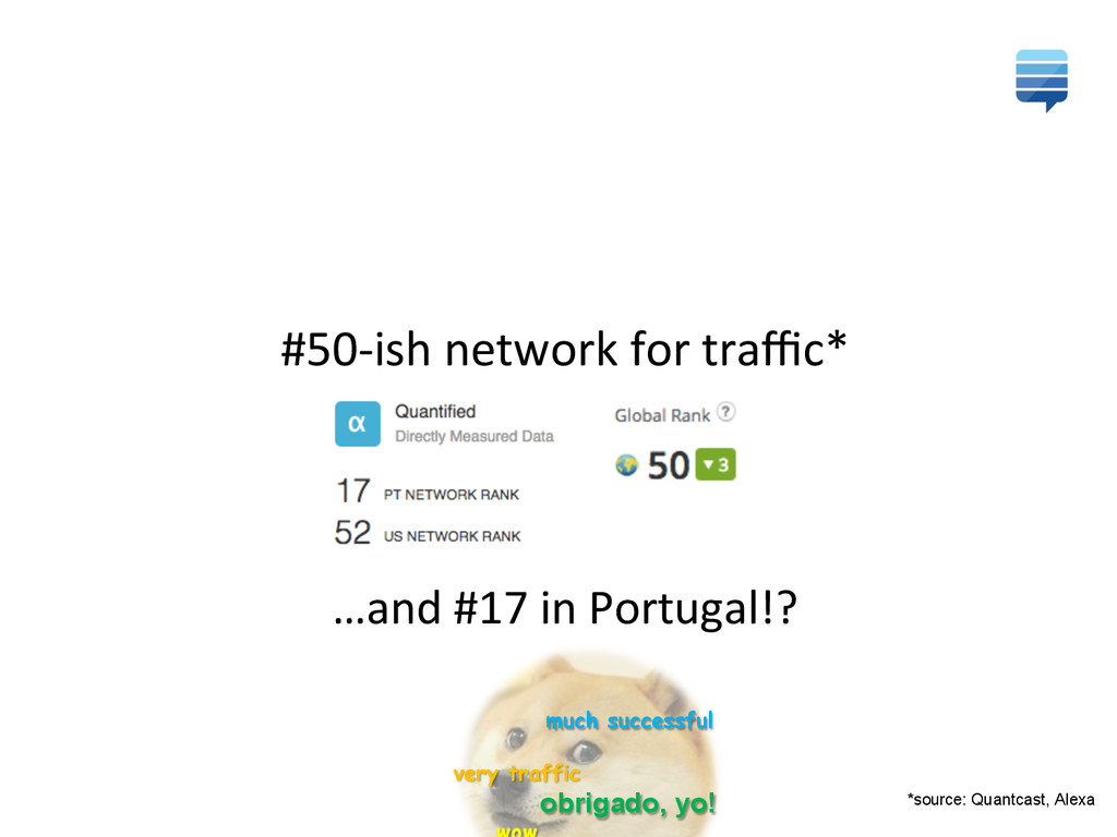 #50-‐ish network for traffic*  …and...
