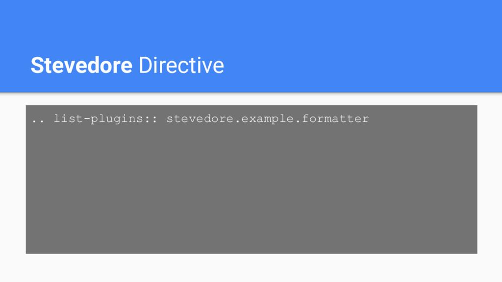 Stevedore Directive .. list-plugins:: stevedore...
