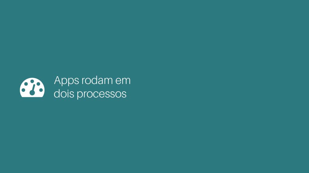 Apps rodam em  dois processos )