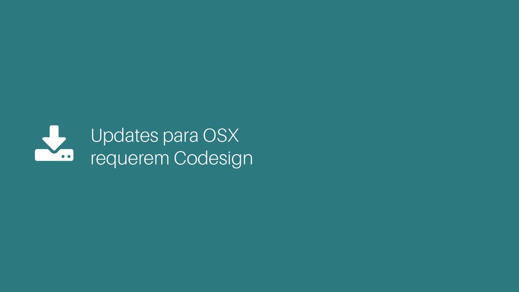 Updates para OSX  requerem Codesign $
