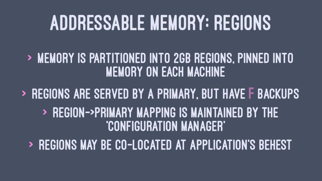 ADDRESSABLE MEMORY: REGIONS > Memory is partiti...