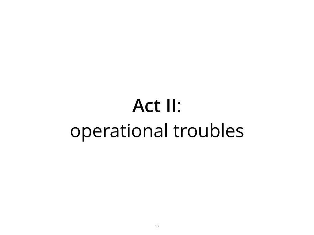 47 Act II: operational troubles